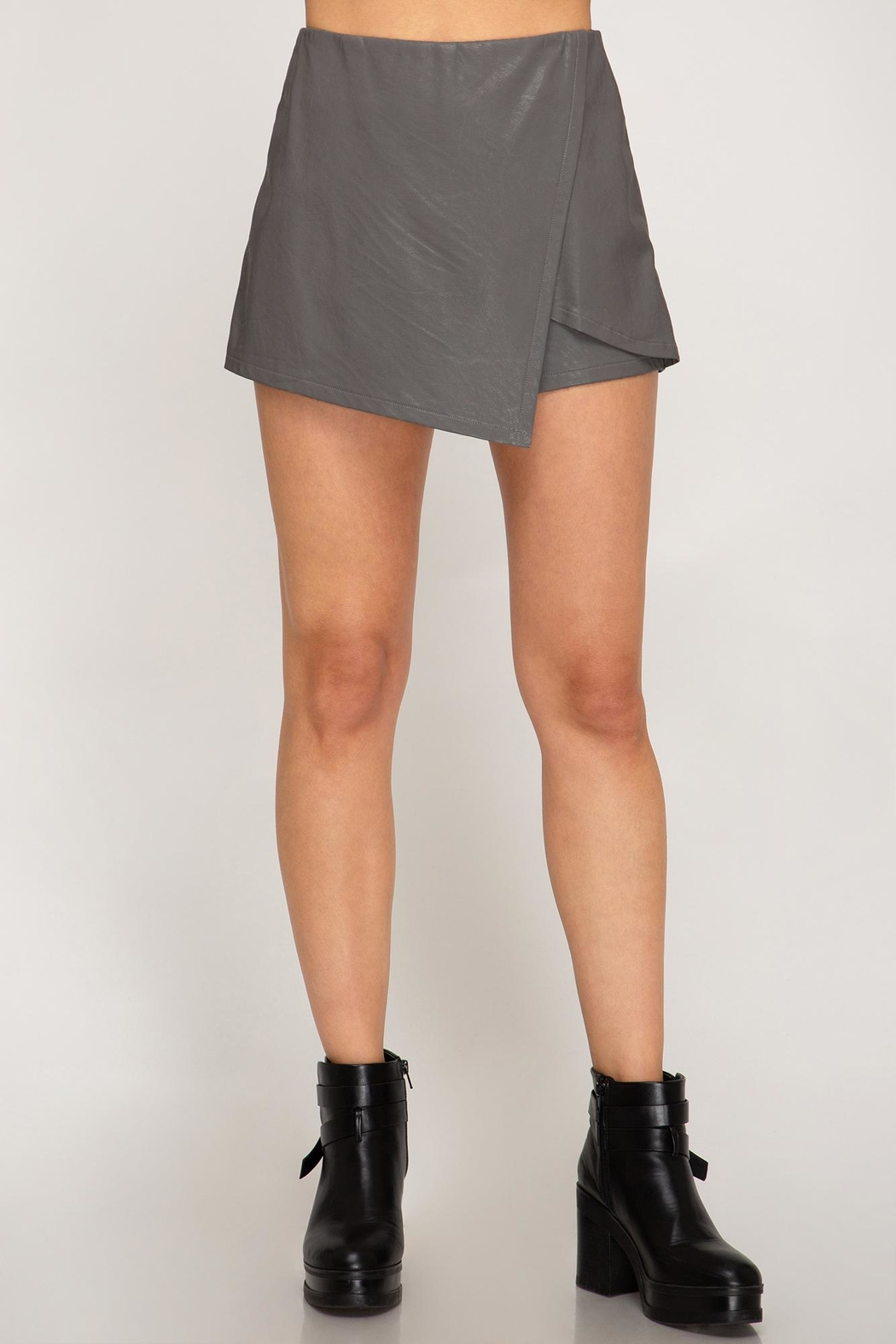 She + Sky Front Wrap Faux Leather Shorts - Front Cropped Image