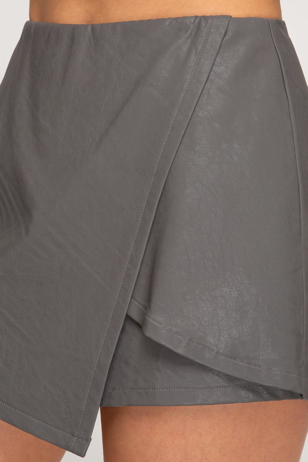 She + Sky Front Wrap Faux Leather Shorts - Front Full Image