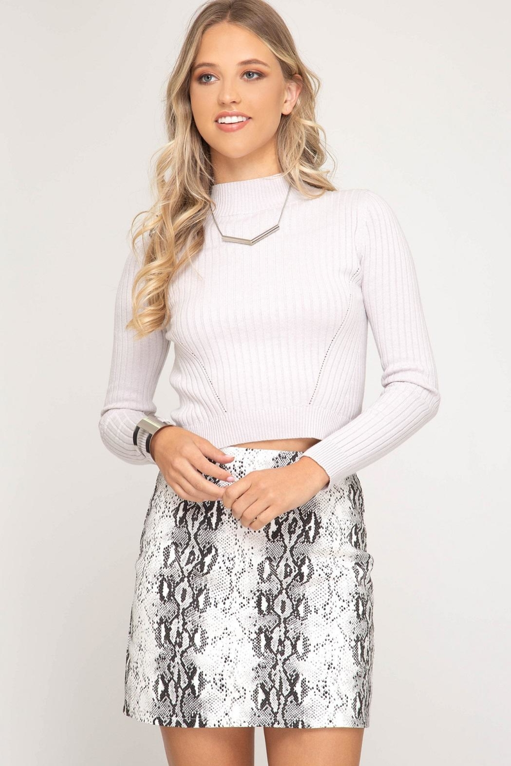 She + Sky Frosty Skirt White - Front Cropped Image