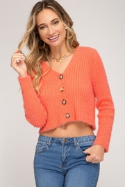 She + Sky Fuzzy Button Cardigan - Product Mini Image