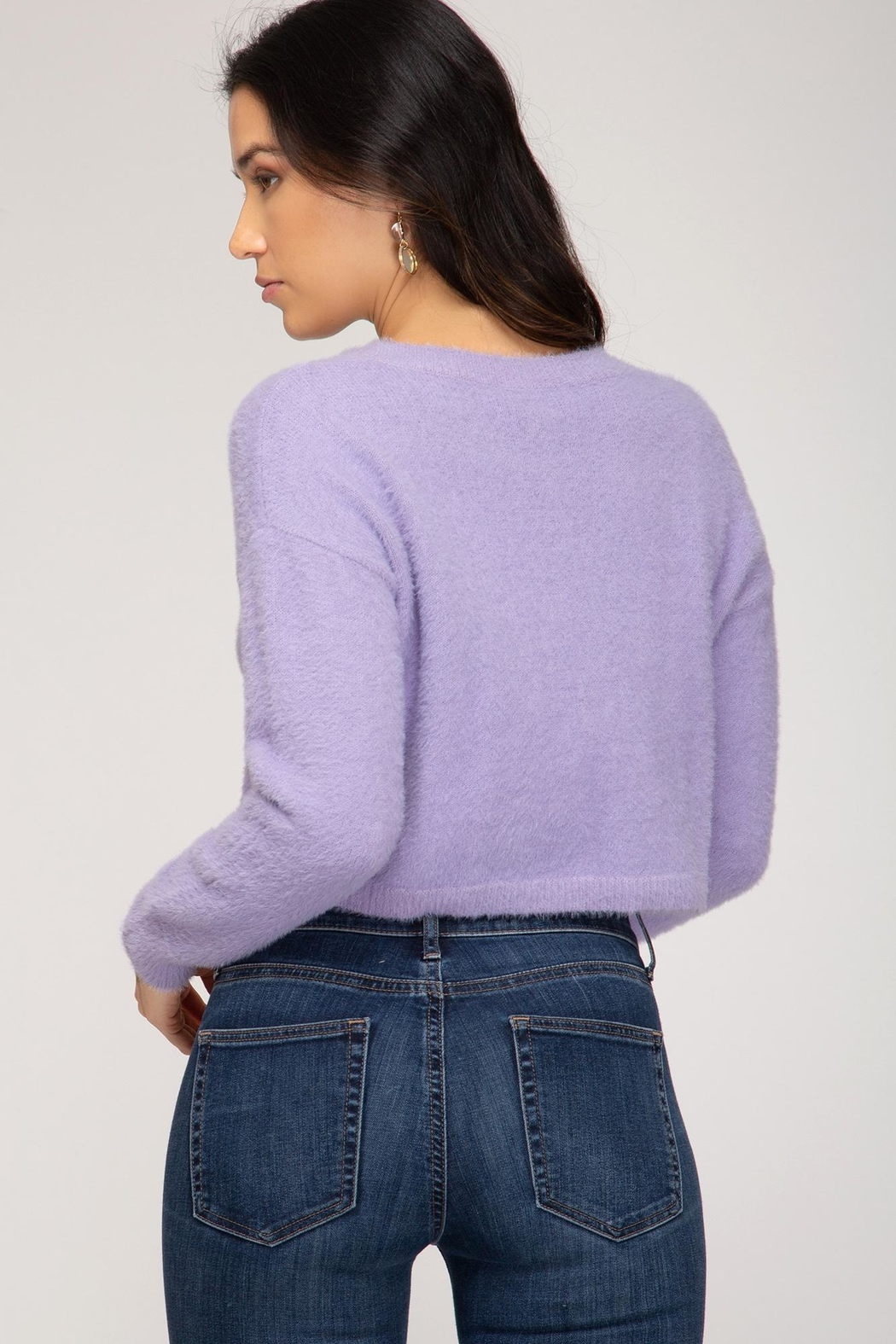 She + Sky Fuzzy Cropped Sweater - Front Full Image