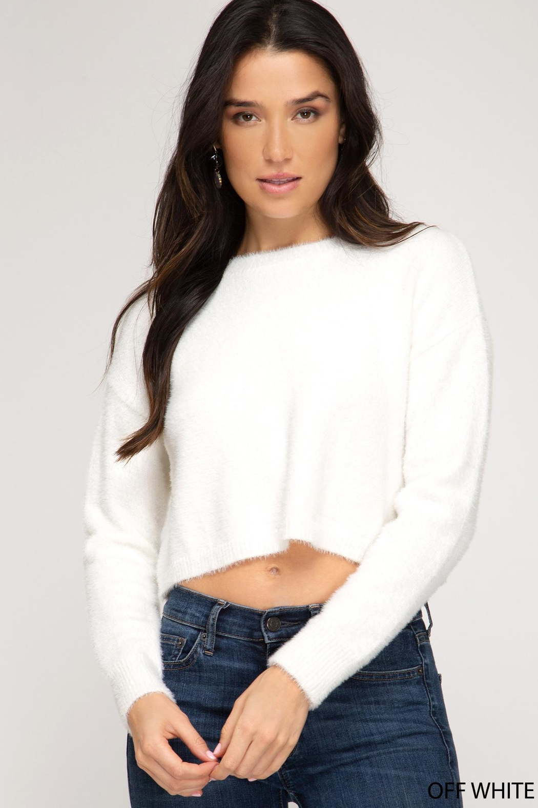 She + Sky Fuzzy Cropped Sweater - Front Cropped Image