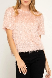 She + Sky Fuzzy Fringe Top - Product Mini Image