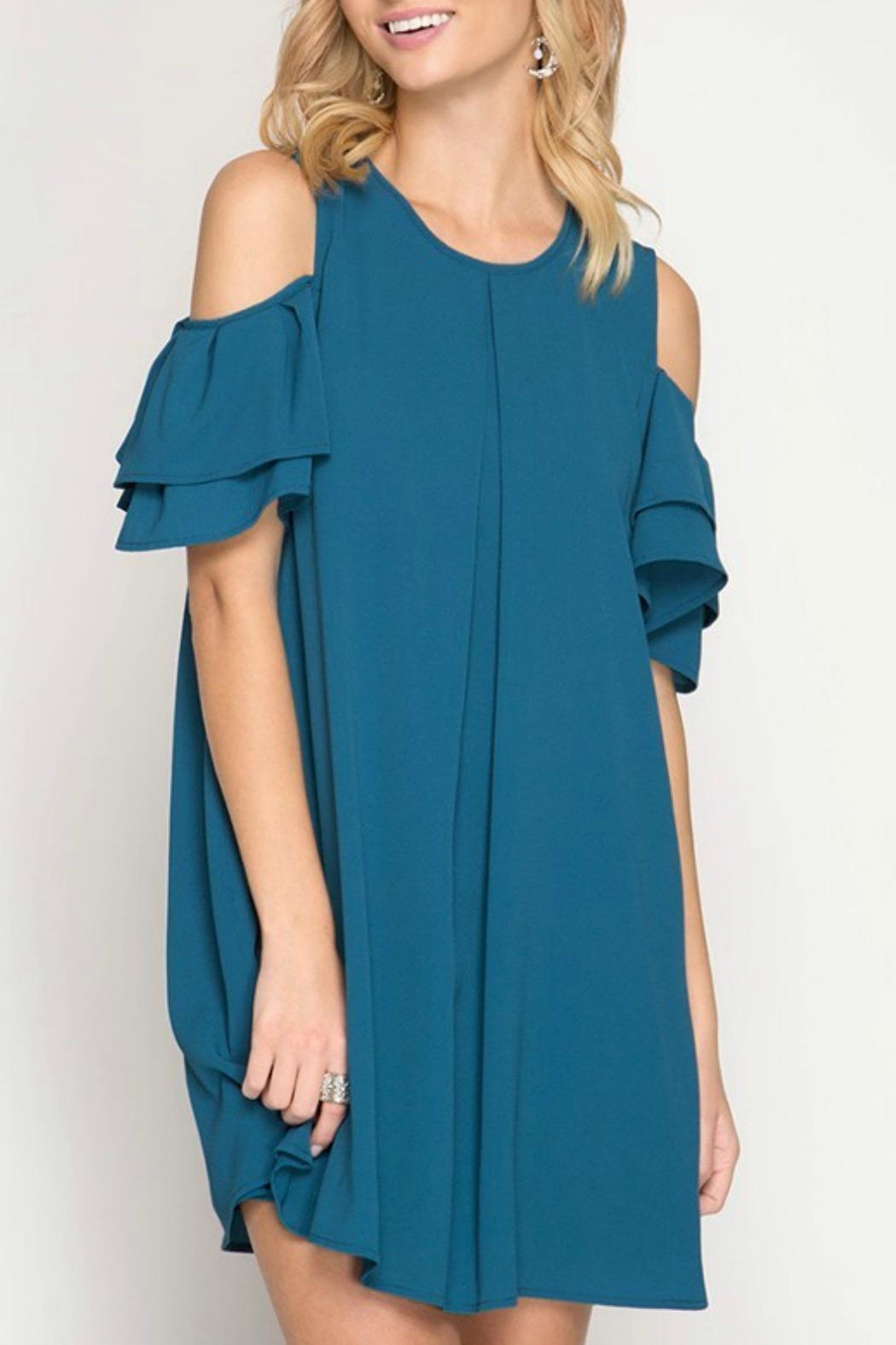 She + Sky Ginny Teal Dress - Front Cropped Image