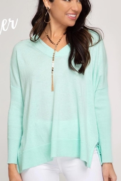 Shoptiques Product: Green V-Neck Sweater