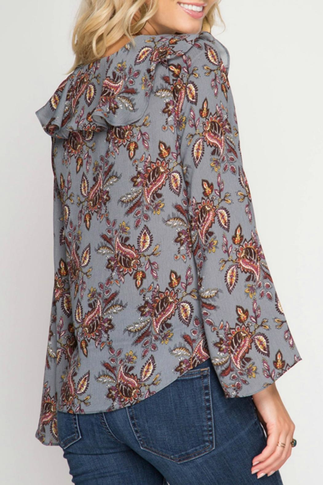 She + Sky Grey Bell Floral Top - Front Full Image