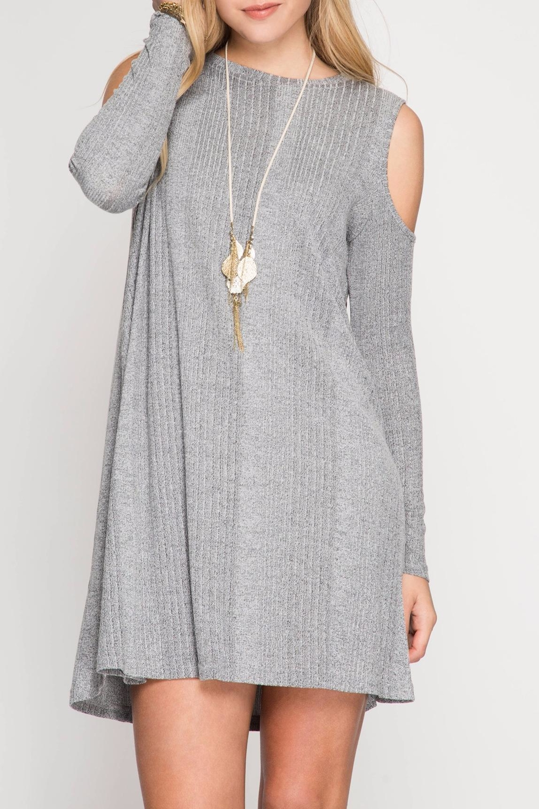 She + Sky Grey Shift Dress - Front Cropped Image