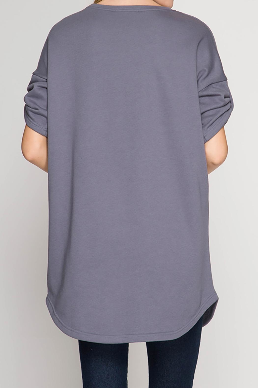 She + Sky Grey Terry Top - Front Full Image