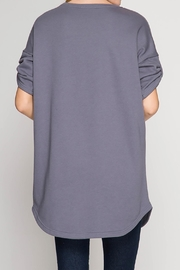 She + Sky Grey Terry Top - Front full body