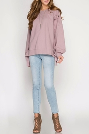 She + Sky Grommet Tie Sweatshirt - Product Mini Image