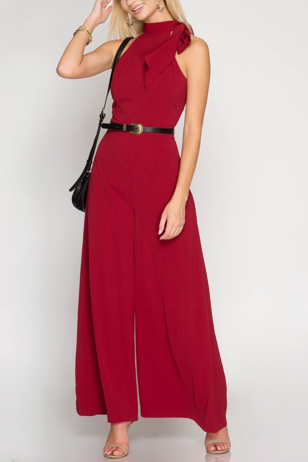 She + Sky Halter Wide-Leg Jumpsuit - Back Cropped Image