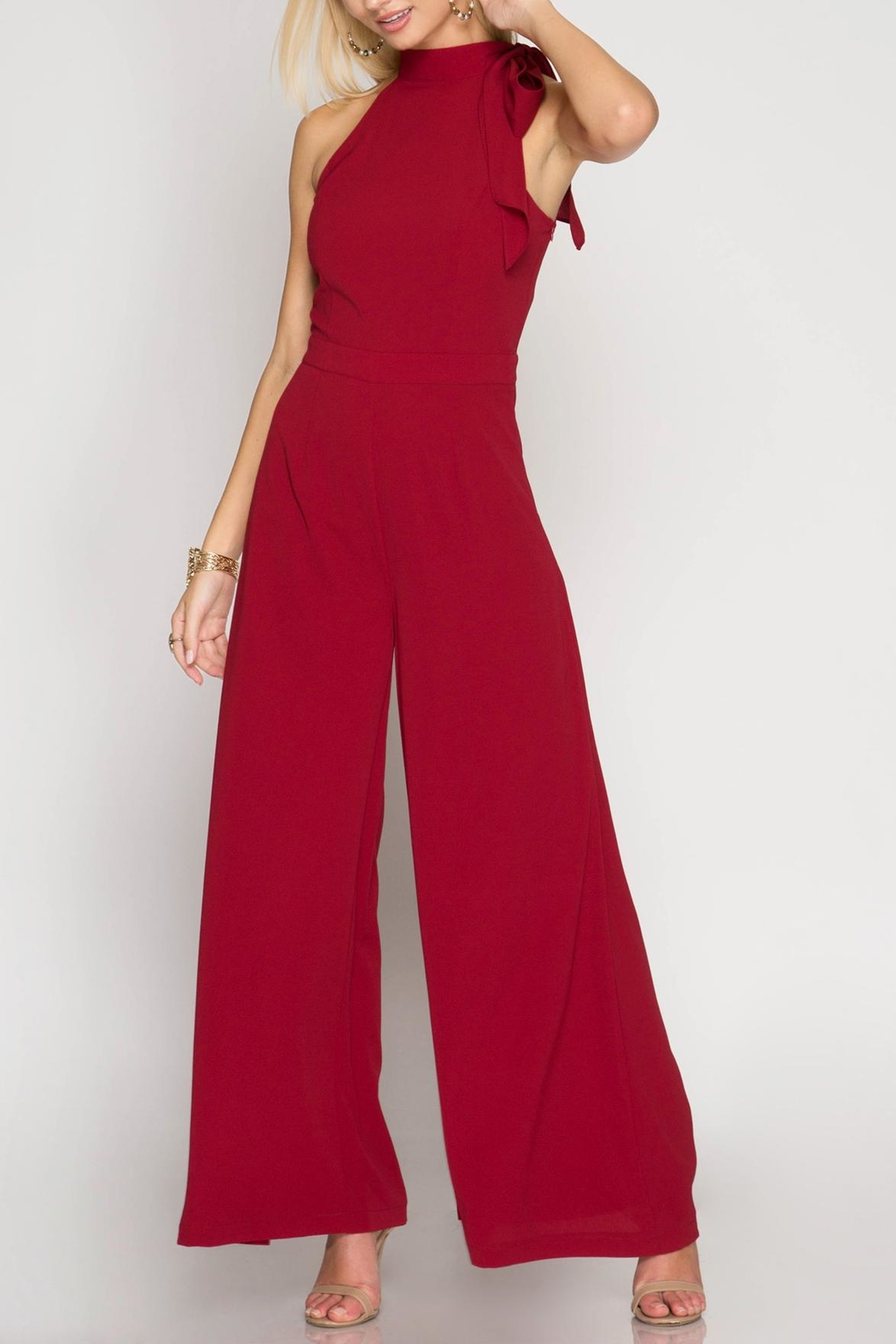 She + Sky Halter Wide-Leg Jumpsuit - Main Image