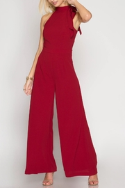 She + Sky Halter Wide-Leg Jumpsuit - Front cropped