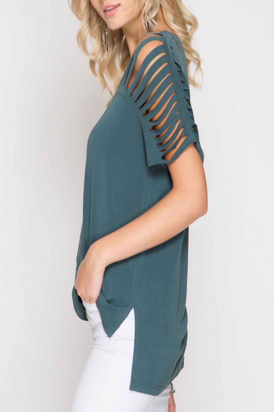 She + Sky Harper Top Teal - Front Full Image