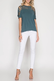 She + Sky Harper Top Teal - Front cropped
