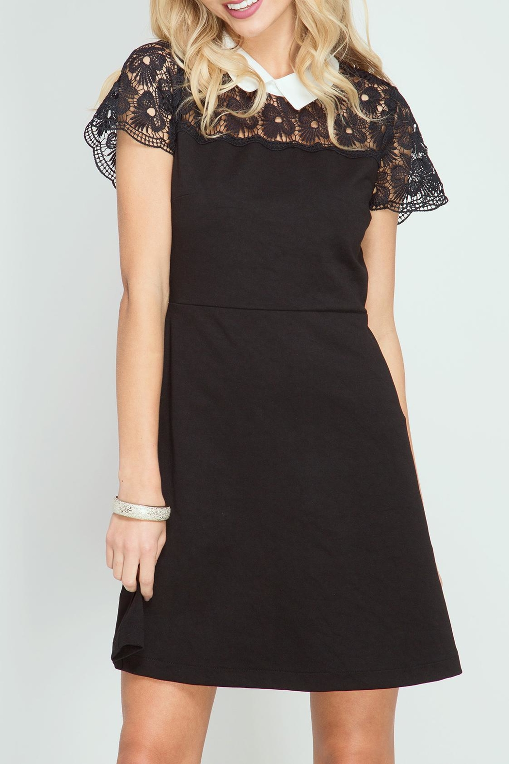 She + Sky Hello Lace Dress - Front Cropped Image