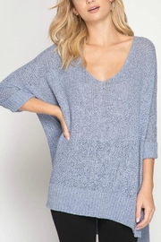 She + Sky Hi-Low Pullover Sweater - Product Mini Image