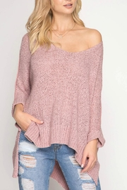 She + Sky Hi-Low Pullover Sweater - Front cropped