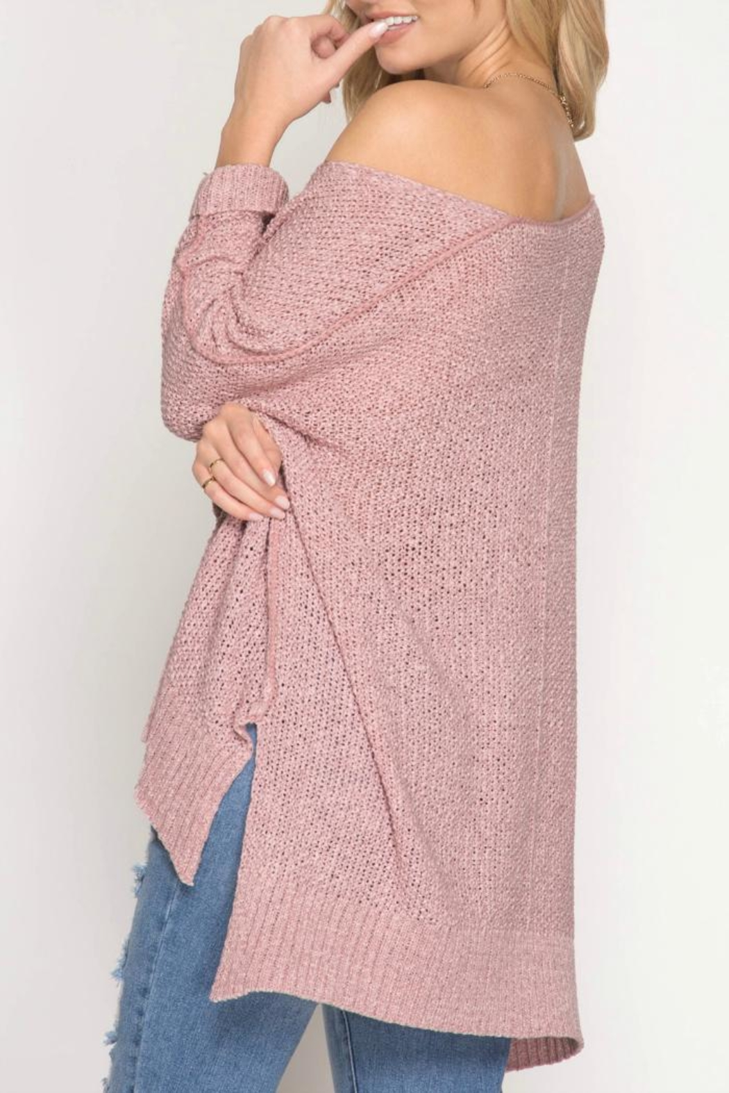 She + Sky Hi-Low Pullover Sweater - Front Full Image