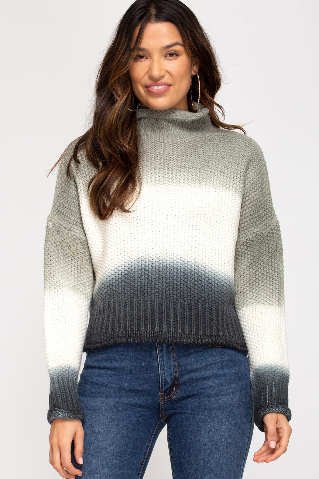 She + Sky Hi-Neck Dip-Dyed Sweater - Front Cropped Image