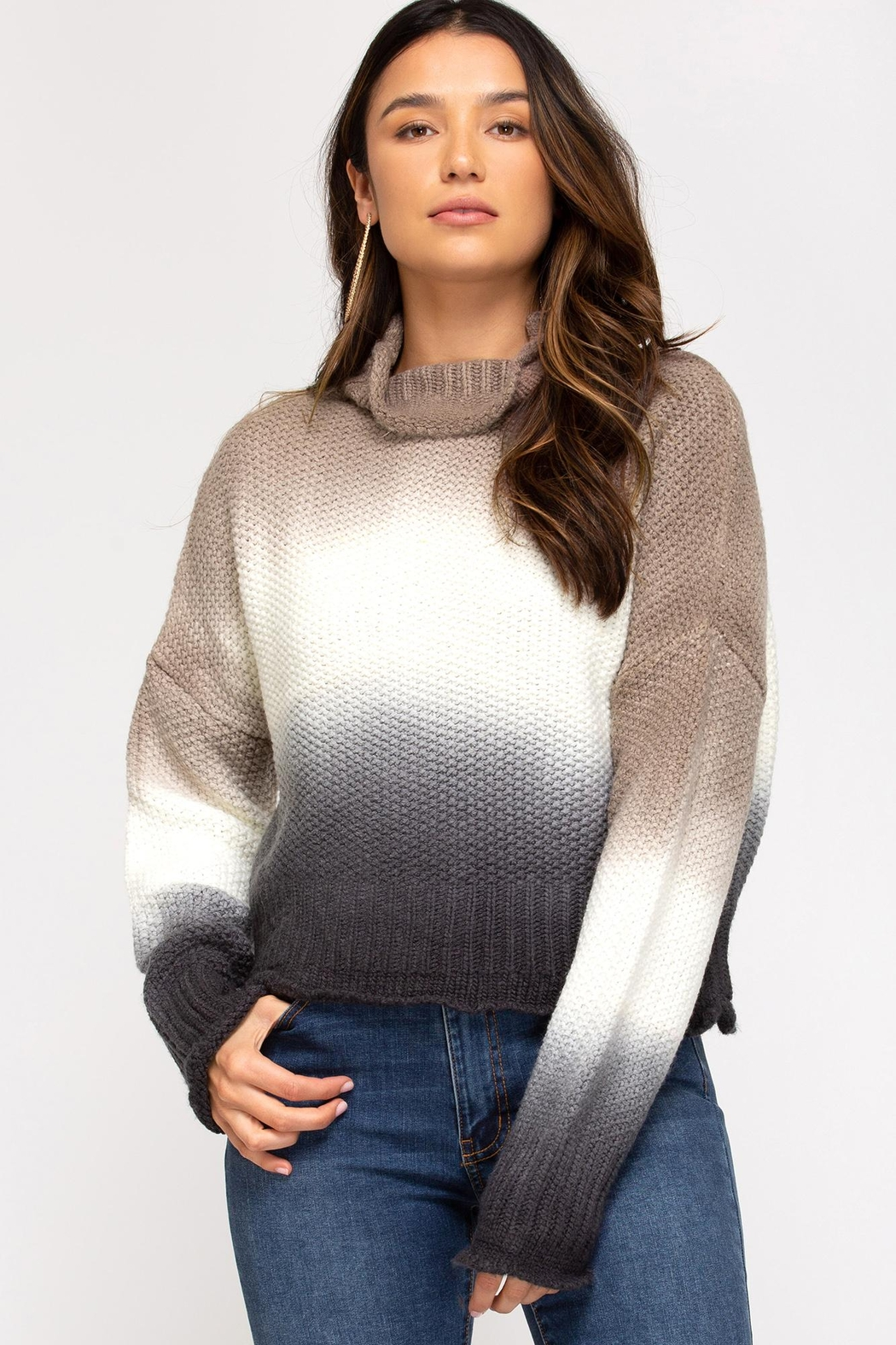 She + Sky Hi-Neck Dip-Dyed Sweater - Main Image
