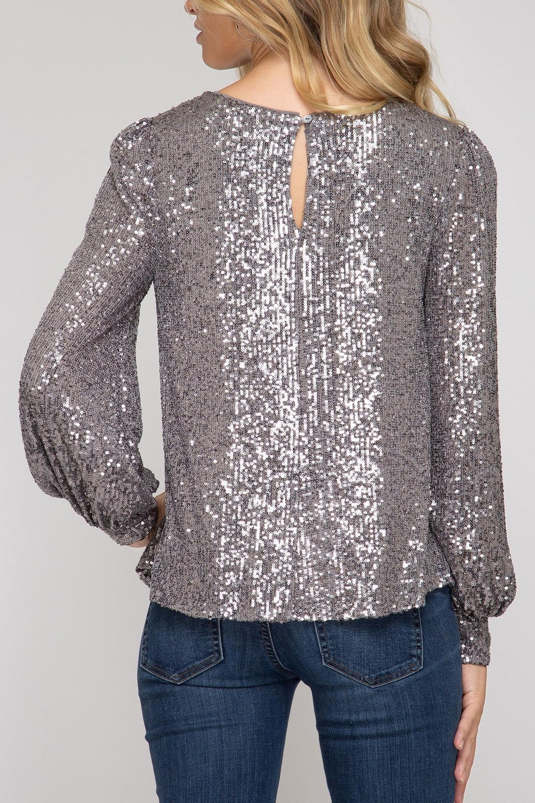 She + Sky Hide & Sequin Top - Front Full Image