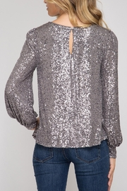 She + Sky Hide & Sequin Top - Front full body