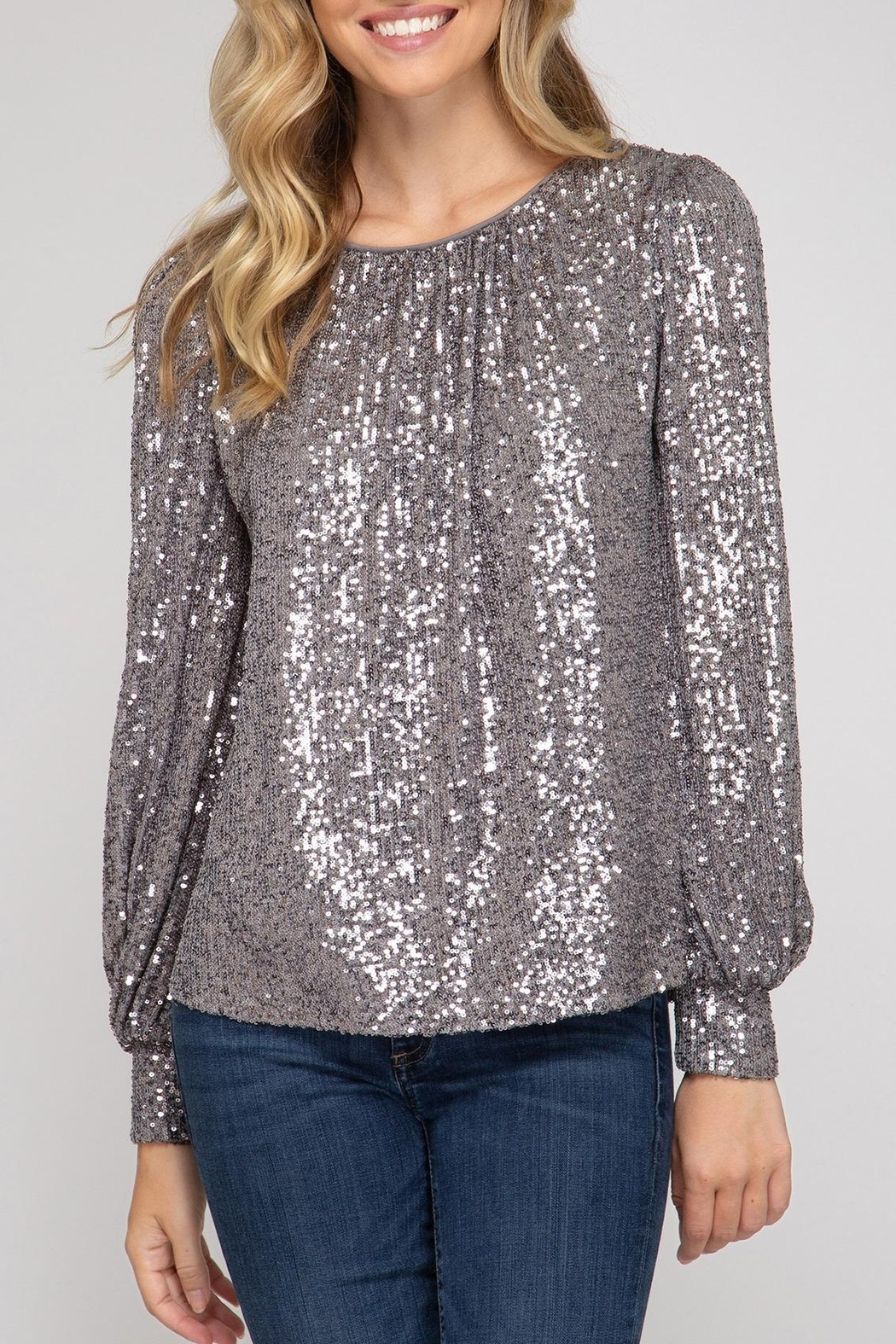 She + Sky Hide & Sequin Top - Main Image