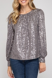 She + Sky Hide & Sequin Top - Front cropped