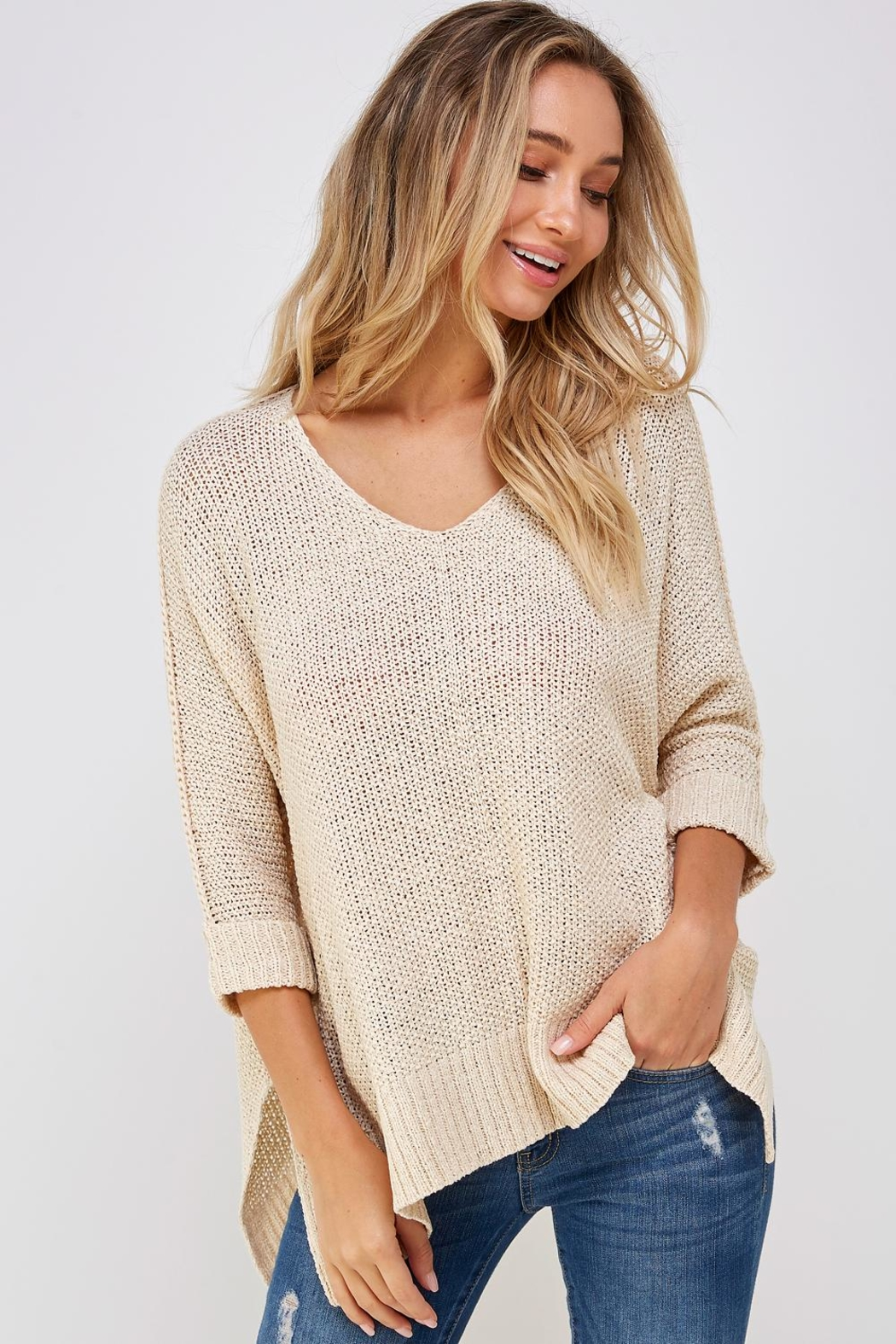 She + Sky High-Lo Knit Sweater - Front Cropped Image