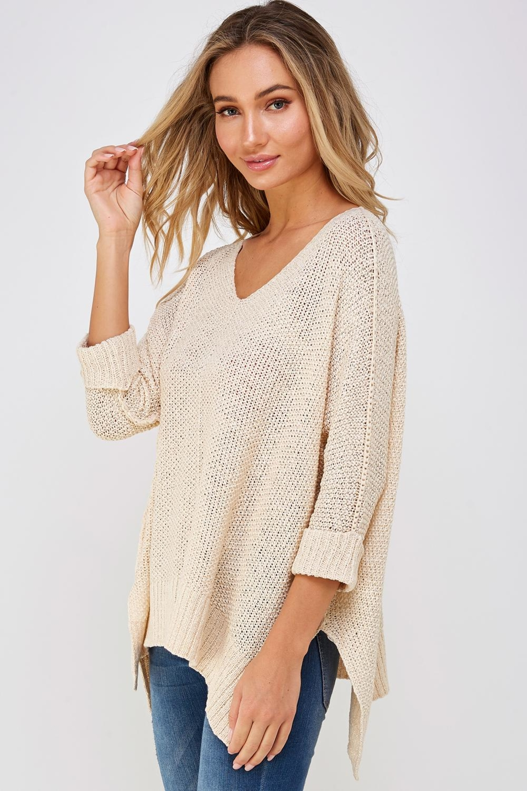 She + Sky High-Lo Knit Sweater - Front Full Image