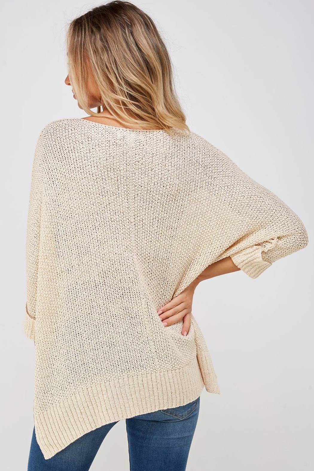 She + Sky High-Lo Knit Sweater - Back Cropped Image