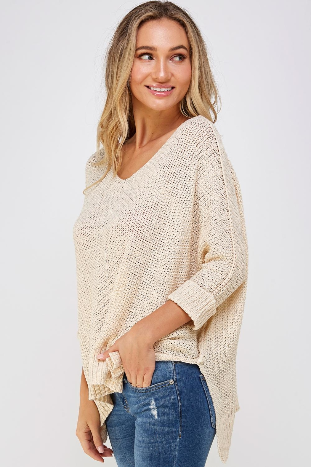 She + Sky High-Lo Knit Sweater - Side Cropped Image