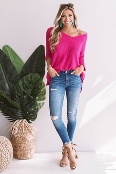She + Sky High-Low Slouchy Knit Sweater - Product List Image