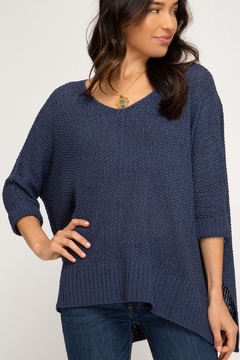 686d8c6c1e1dee She + Sky High-Low Slouchy Knit Sweater - Alternate List Image ...