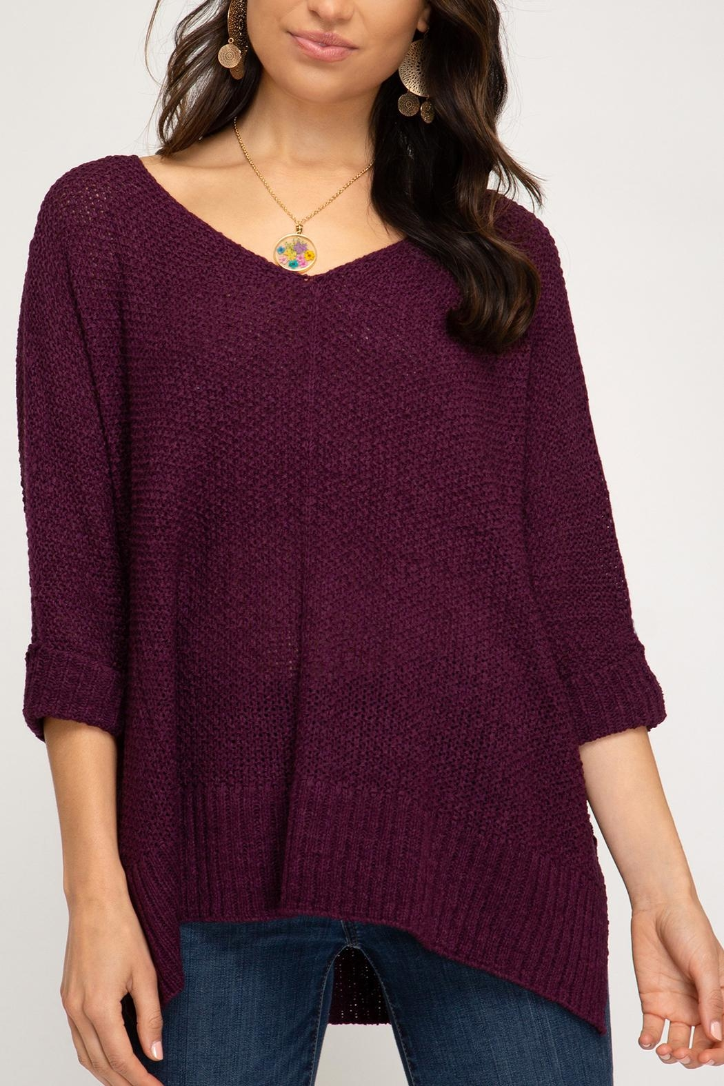 She + Sky High-Low Slouchy Knit Sweater - Main Image