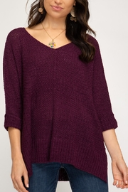 She + Sky High-Low Slouchy Knit Sweater - Product Mini Image