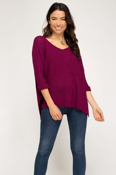 She + Sky High-Low Slouchy Knit Sweater - Alternate List Image