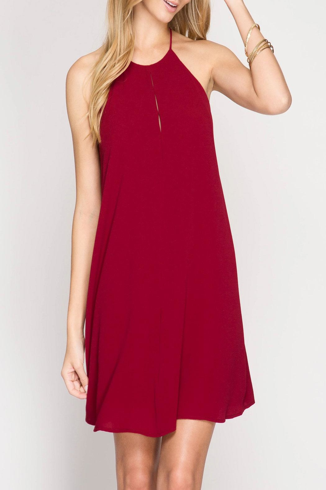 She + Sky Red High Neck Dress - Main Image