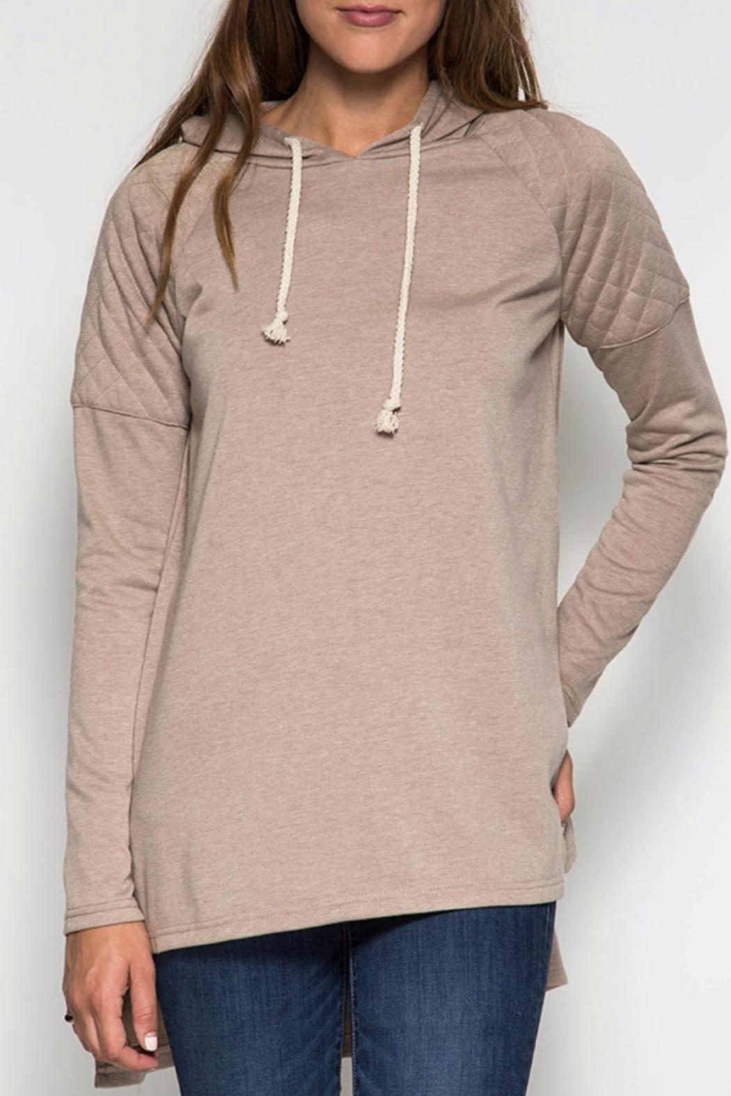 She + Sky Hooded Hi-Low Sweatshirt - Side Cropped Image