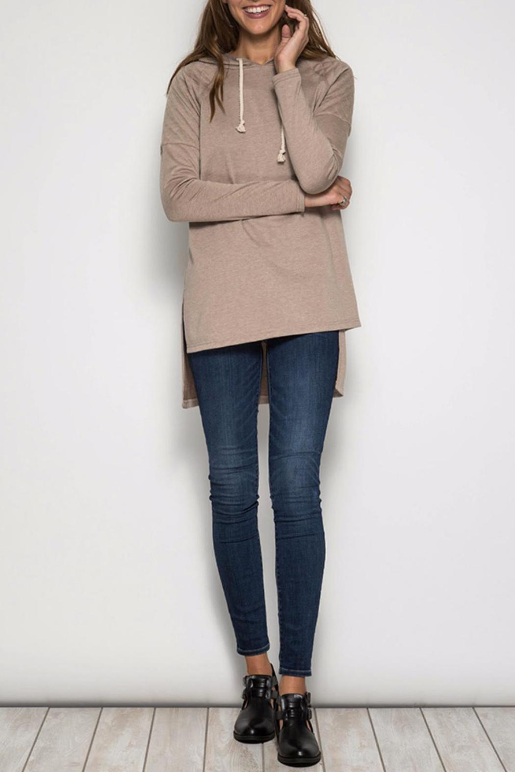She + Sky Hooded Hi-Low Sweatshirt - Main Image