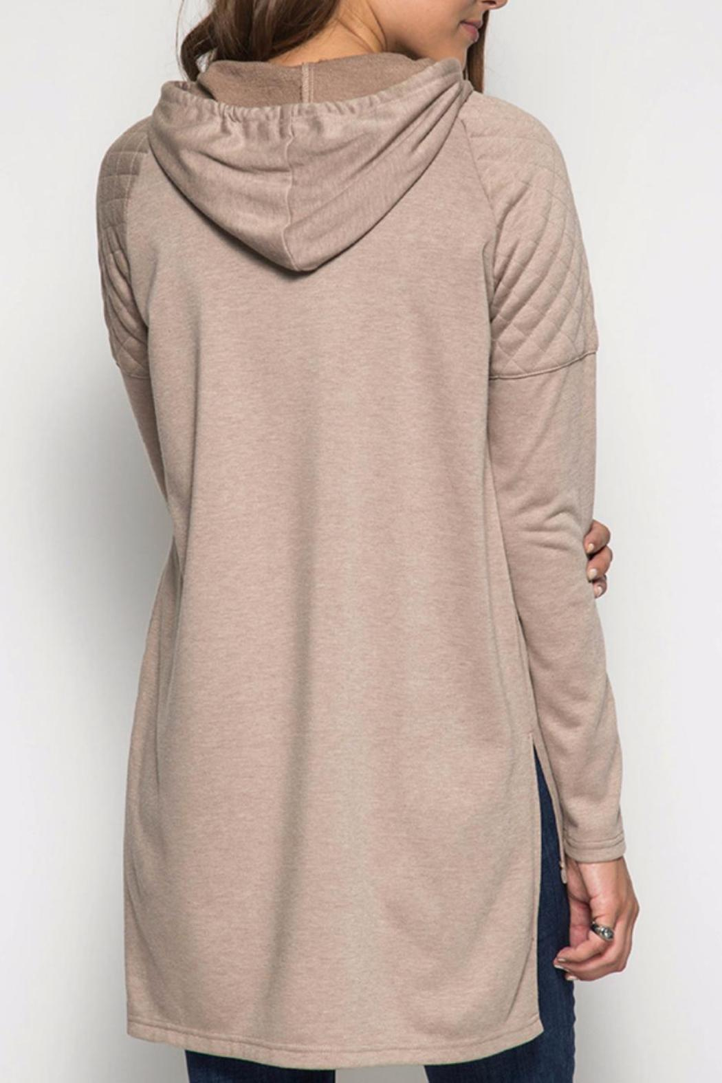 She + Sky Hooded Hi-Low Sweatshirt - Back Cropped Image