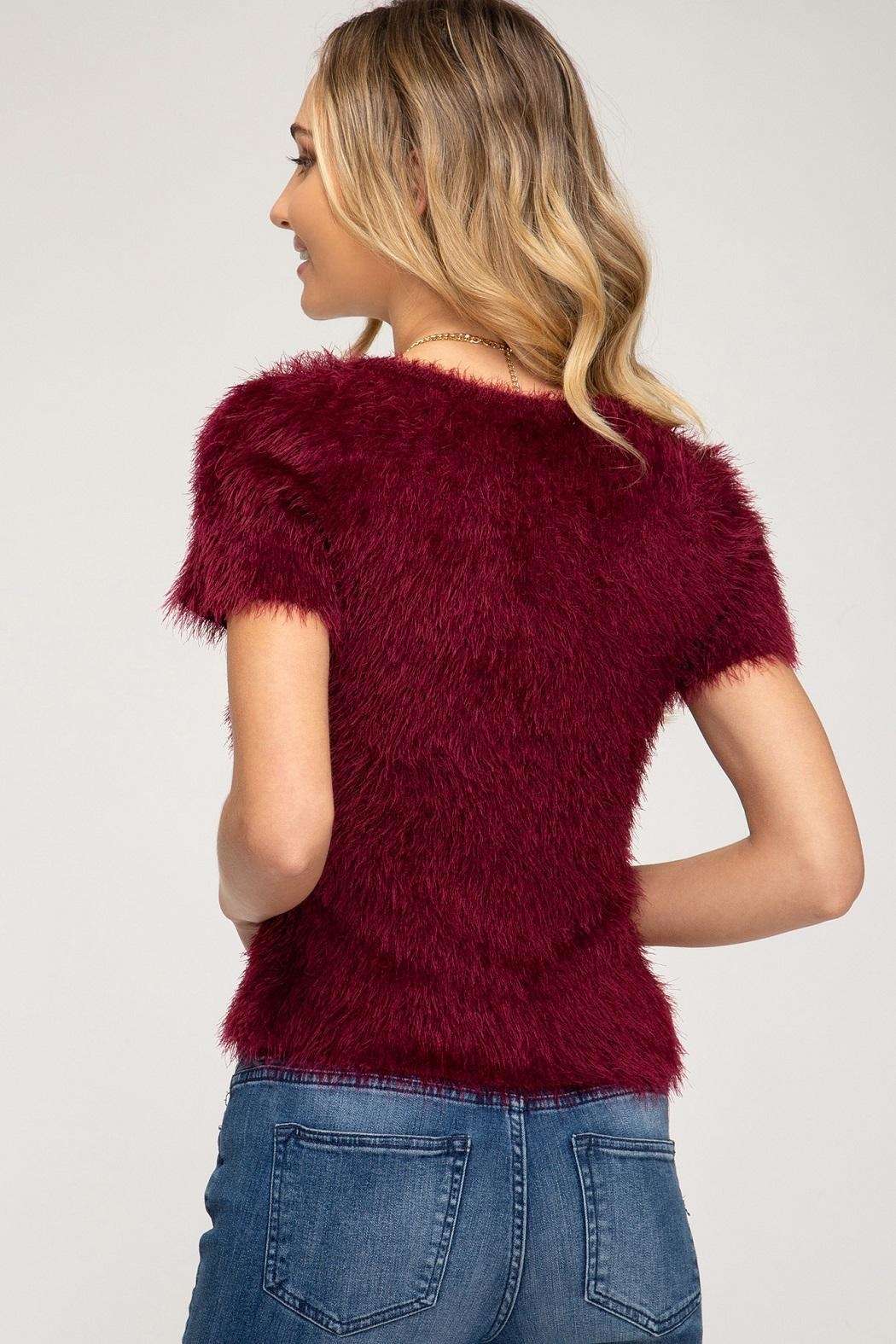 She + Sky Ivy Sweater Wine - Front Full Image