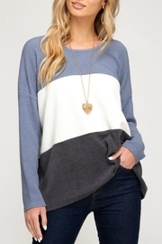 She + Sky Jenna Striped Sweater - Front full body