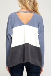 She + Sky Jenna Striped Sweater - Back cropped