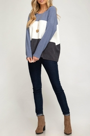 She + Sky Jenna Striped Sweater - Front cropped
