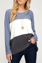 She + Sky Jenna Striped Sweater - Side cropped