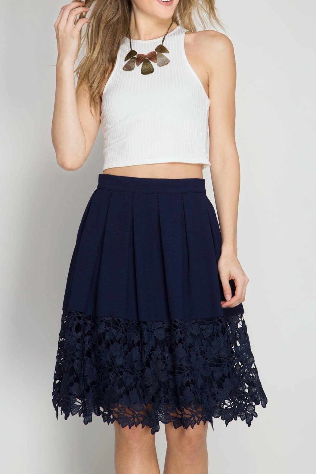 She + Sky Kelly Crochet Skirt - Front Cropped Image