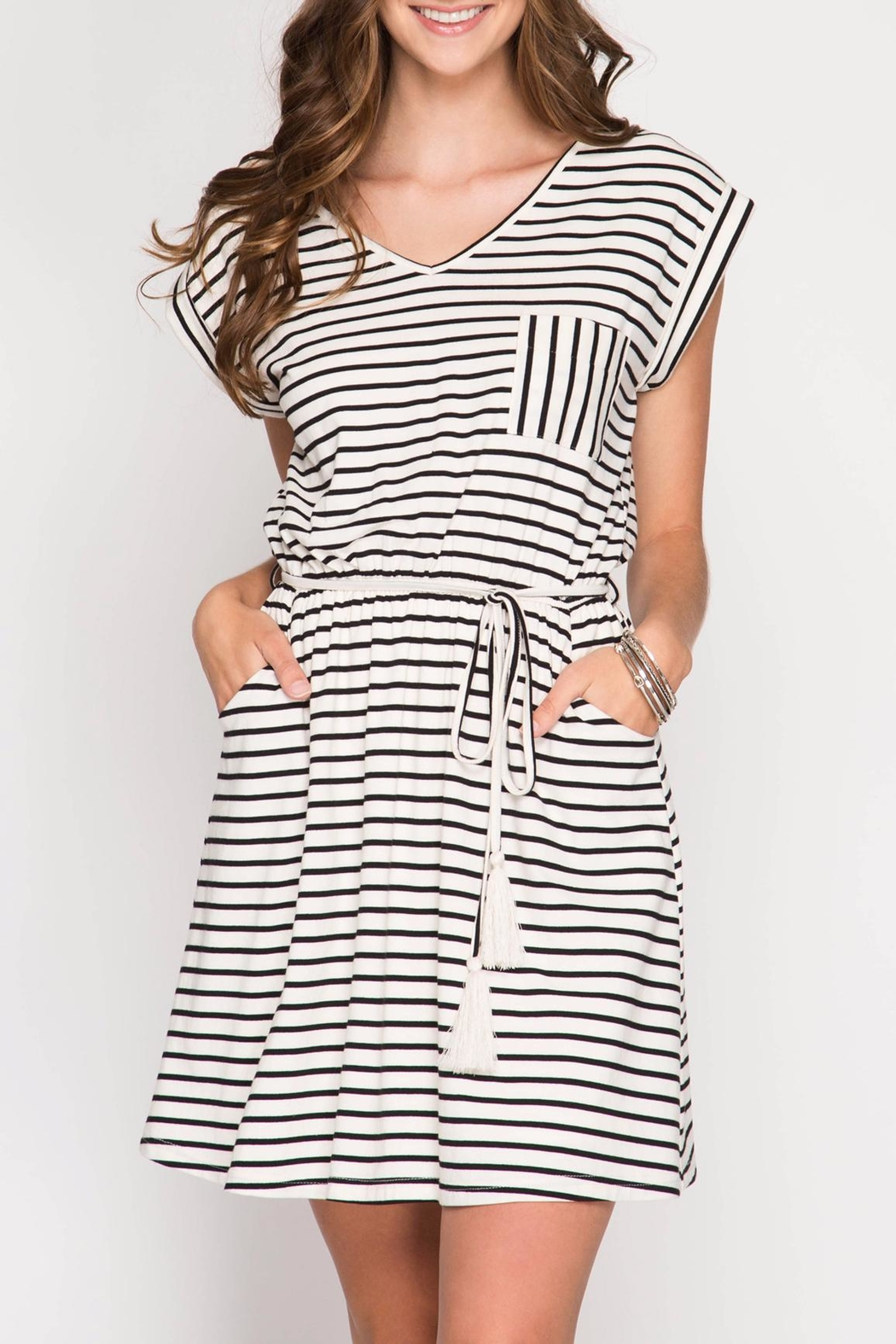 She + Sky Knit Striped Dress - Front Full Image