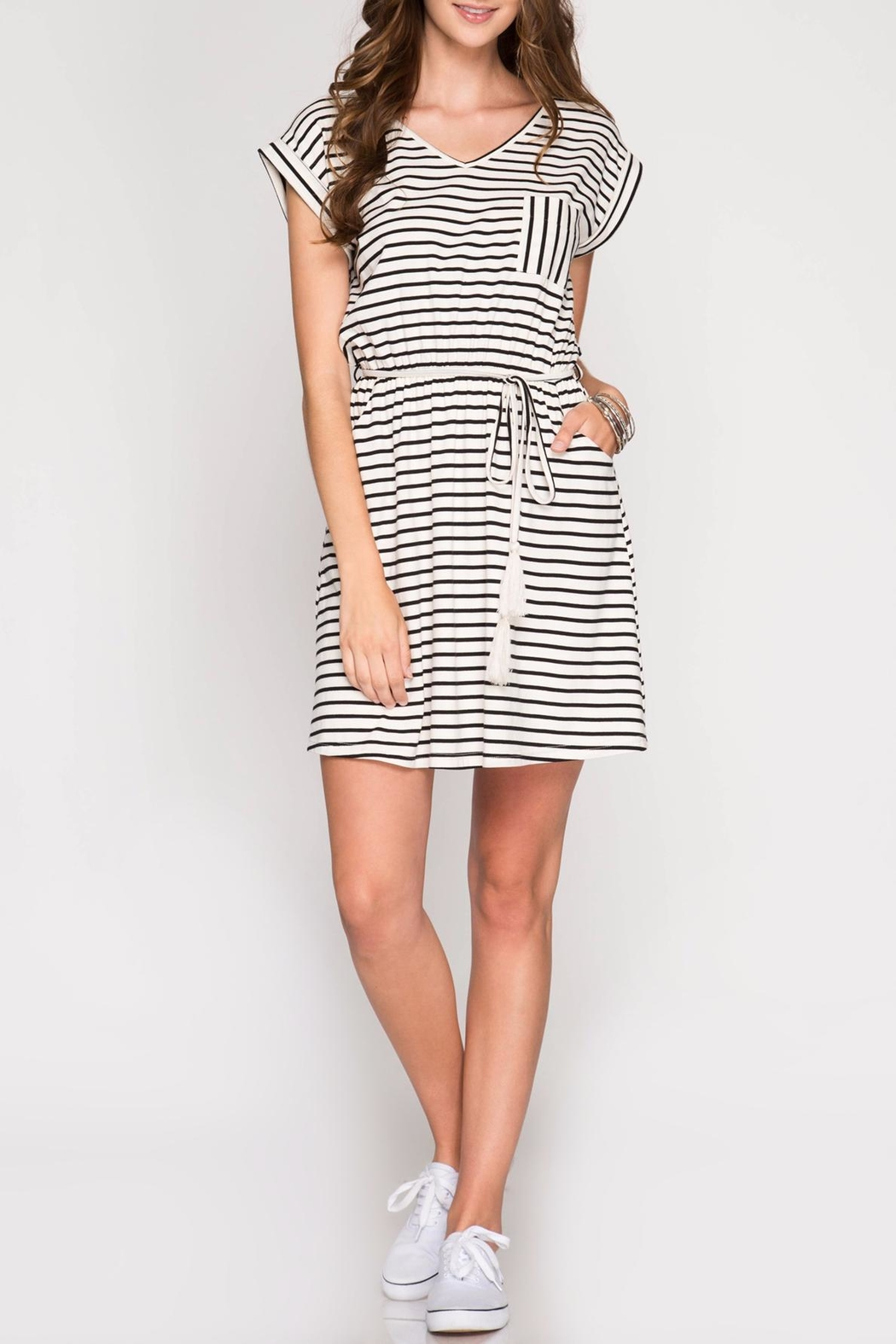 She + Sky Knit Striped Dress - Front Cropped Image